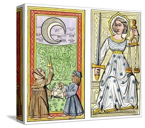 Playing Cards of Moon (Left) and Justice (Right) From the Court of Charles VI, France, Circa 1400--Stretched Canvas Print