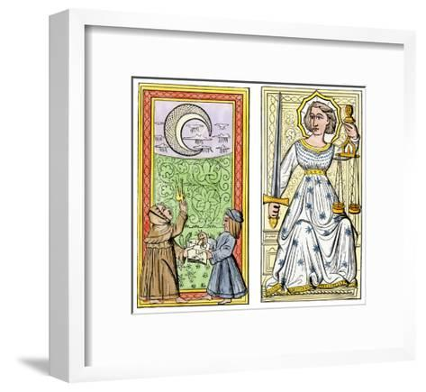 Playing Cards of Moon (Left) and Justice (Right) From the Court of Charles VI, France, Circa 1400--Framed Art Print