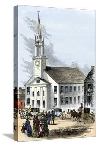 Carriages on the Street by Old South Church in Newburyport, Massachusetts, 1850s--Stretched Canvas Print