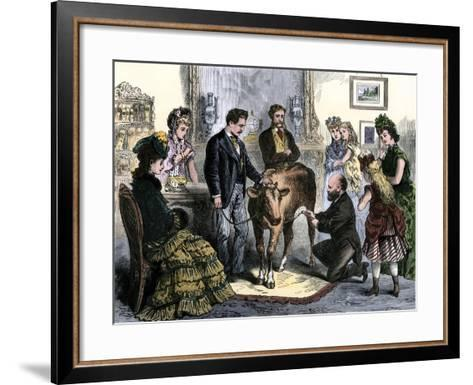 Patients Vaccinated Against Smallpox with Live Virus From a Calf, 1872--Framed Art Print