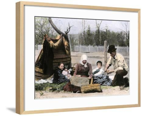 Immigrant Family Cutting Seed Potatoes to Plant on Their Quarter-Acre in Michigan, 1890s--Framed Art Print