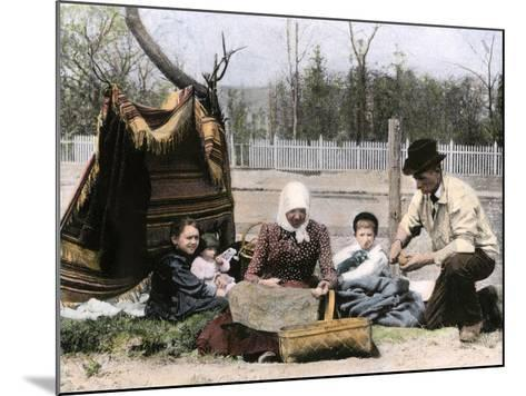 Immigrant Family Cutting Seed Potatoes to Plant on Their Quarter-Acre in Michigan, 1890s--Mounted Giclee Print