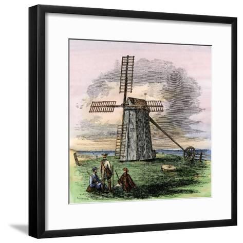 Windmill in Truro on Cape Cod, Massachusetts, 1850s--Framed Art Print