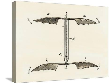 Helicopter Rotor Blades, or Screw-Model, by Penaud, 1872--Stretched Canvas Print