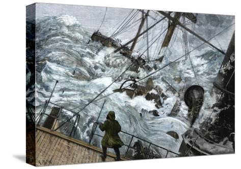 "Orient Line Steamship ""Chimborazo"" in a Gale, 1880--Stretched Canvas Print"