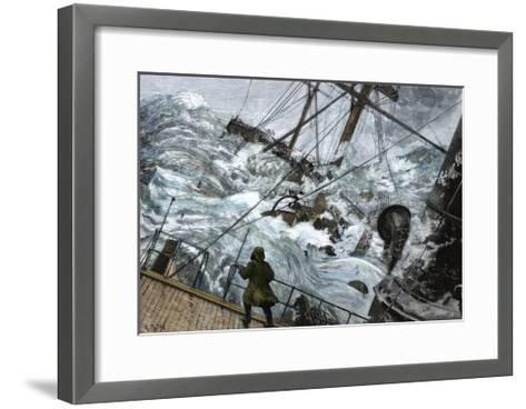 "Orient Line Steamship ""Chimborazo"" in a Gale, 1880--Framed Art Print"