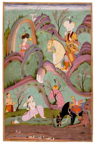 Khusraw Beholding Shirin Bathing. (Miniature From the Cycle of Eight Poetic Subjects)--Stretched Canvas Print