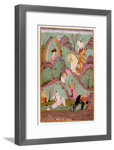 Khusraw Beholding Shirin Bathing. (Miniature From the Cycle of Eight Poetic Subjects)--Framed Art Print