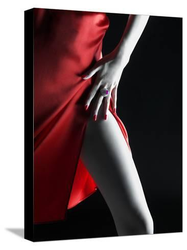 Silky Red Dress-Graeme Montgomery-Stretched Canvas Print