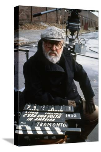Once Upon a Time in America 1984 Directed by Sergio Leone on the Set, the Director Sergio Leone.--Stretched Canvas Print