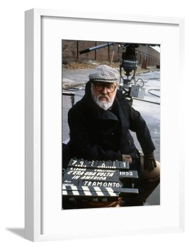 Once Upon a Time in America 1984 Directed by Sergio Leone on the Set, the Director Sergio Leone.--Framed Art Print