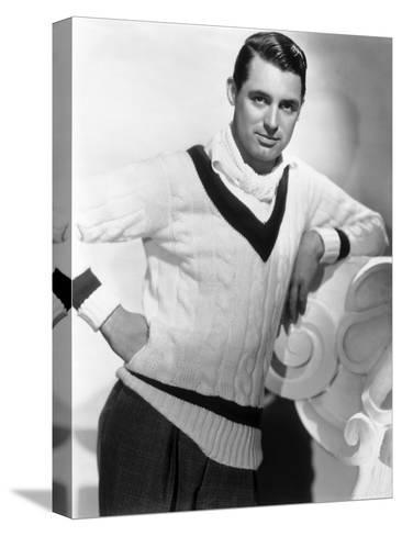 British Born Actor Cary Grant (1904 - 1986), Born Archibald Leach, Wearing a Cricket Sweater--Stretched Canvas Print