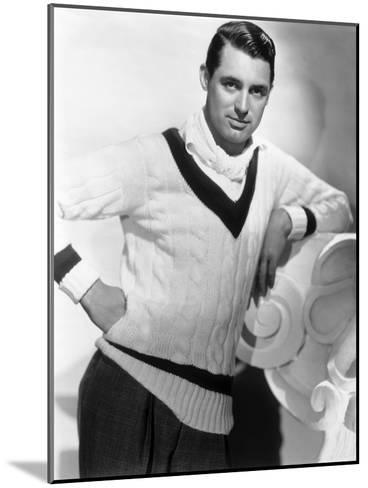 British Born Actor Cary Grant (1904 - 1986), Born Archibald Leach, Wearing a Cricket Sweater--Mounted Photo