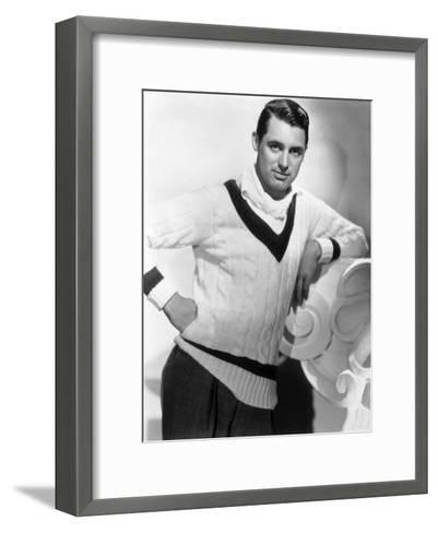 British Born Actor Cary Grant (1904 - 1986), Born Archibald Leach, Wearing a Cricket Sweater--Framed Art Print