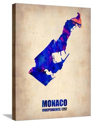 Monaco Watercolor Poster-NaxArt-Stretched Canvas Print