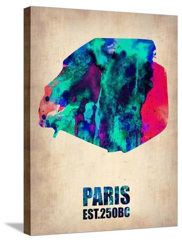 Paris Watercolor Map-NaxArt-Stretched Canvas Print