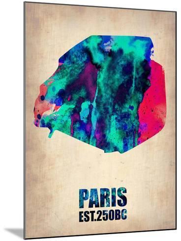 Paris Watercolor Map-NaxArt-Mounted Art Print