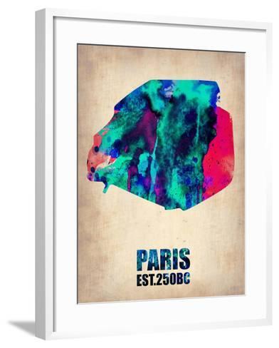 Paris Watercolor Map-NaxArt-Framed Art Print