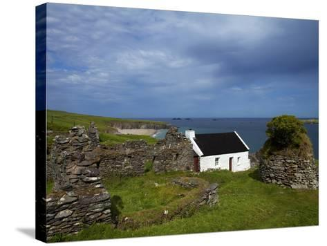 Cottage And Deserted Cottages on Great Blasket Island--Stretched Canvas Print