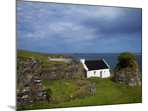 Cottage And Deserted Cottages on Great Blasket Island--Mounted Photographic Print