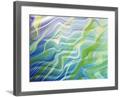 Abstract Steaks of Green, Blue, Lavender And White in Blowing Fabric--Framed Art Print