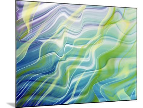 Abstract Steaks of Green, Blue, Lavender And White in Blowing Fabric--Mounted Photographic Print