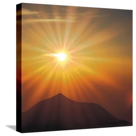 Sun Shinning Over the Mountain, Computer Graphics, Lens Flare--Stretched Canvas Print