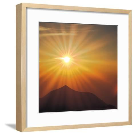Sun Shinning Over the Mountain, Computer Graphics, Lens Flare--Framed Art Print