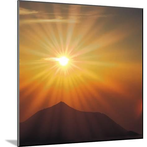 Sun Shinning Over the Mountain, Computer Graphics, Lens Flare--Mounted Photographic Print