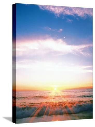 Heavy Waves with Bright Sunlight, Lens Flare--Stretched Canvas Print