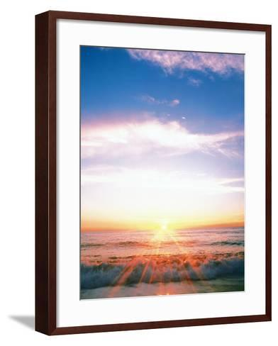 Heavy Waves with Bright Sunlight, Lens Flare--Framed Art Print