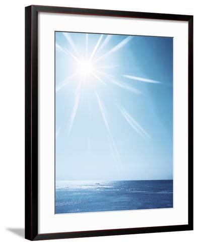 Sunshine Over Sea, Lens Flare, Blue--Framed Art Print