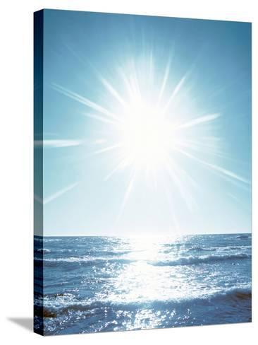 Sunshine Over Sea Waves, Lens Flare, Blue--Stretched Canvas Print