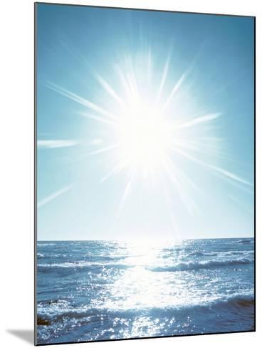 Sunshine Over Sea Waves, Lens Flare, Blue--Mounted Photographic Print