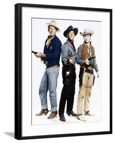 RIO BRAVO, from left: John Wayne, Dean Martin, Ricky Nelson, 1959--Framed Art Print