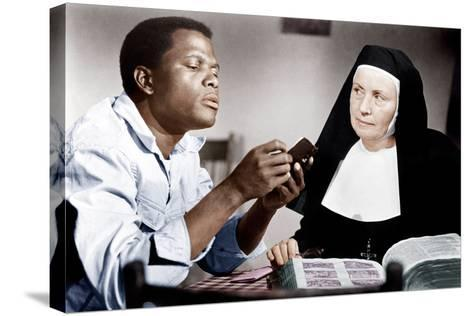LILIES OF THE FIELD, from left: Sidney Poitier, Lilia Skala, 1963--Stretched Canvas Print