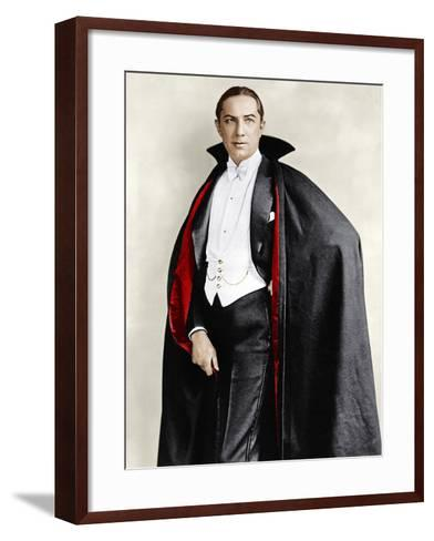 Bela Lugosi dressed in costume for his role in the Broadway play, 'Dracula,' 1927-1928--Framed Art Print