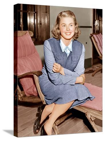 Ingrid Bergman lounges on ship deck, 1940--Stretched Canvas Print