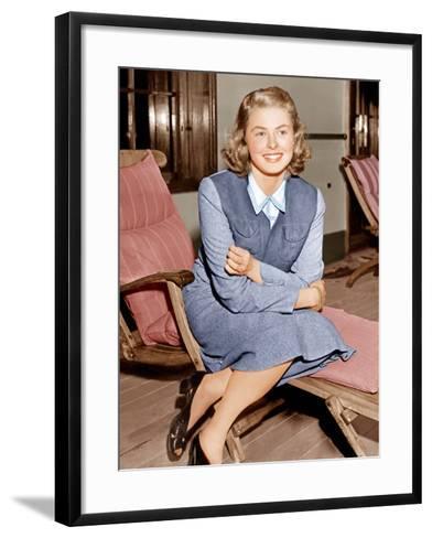 Ingrid Bergman lounges on ship deck, 1940--Framed Art Print