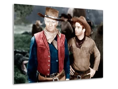 RED RIVER, from left: John Wayne, Montgomery Clift, 1948--Metal Print