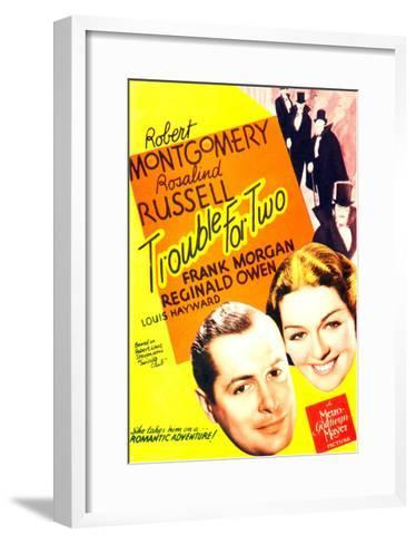 TROUBLE FOR TWO, US poster art, from left: Robert Montgomery, Rosalind Russell, 1936--Framed Art Print