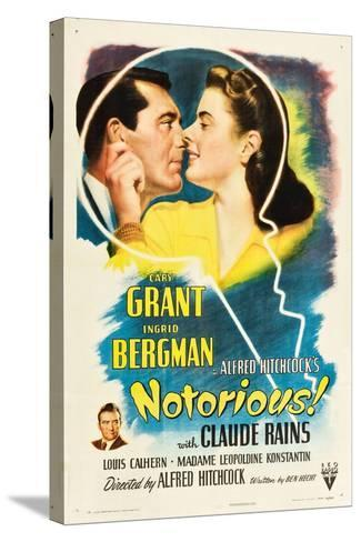 NOTORIOUS, Cary Grant, Ingrid Bergman, Claude Rains, 1946--Stretched Canvas Print