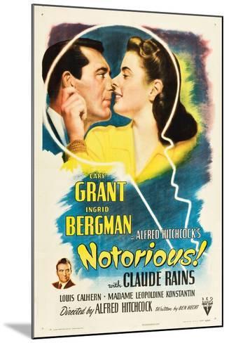 NOTORIOUS, Cary Grant, Ingrid Bergman, Claude Rains, 1946--Mounted Art Print
