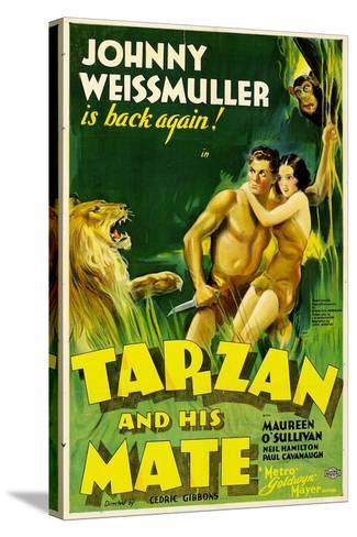 TARZAN AND HIS MATE, Johnny Weissmuller, Maureen O'Sullivan, 1934--Stretched Canvas Print