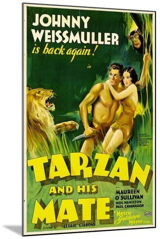 TARZAN AND HIS MATE, Johnny Weissmuller, Maureen O'Sullivan, 1934--Mounted Art Print