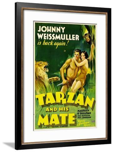 TARZAN AND HIS MATE, Johnny Weissmuller, Maureen O'Sullivan, 1934--Framed Art Print