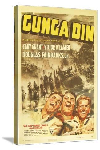 Gunga Din, Cary Grant, Victor McLaglen, Douglas Fairbanks Jr., 1939, poster art--Stretched Canvas Print