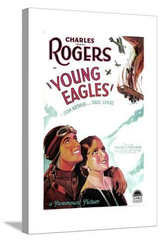 YOUNG EAGLES, US poster art, from left: Charles 'Buddy' Rogers, Jean Arthur, 1930--Stretched Canvas Print
