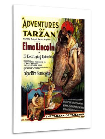 Adventures of Tarzan, Elmo Lincoln, 1921--Metal Print