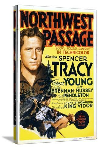 NORTHWEST PASSAGE, left: Spencer Tracy on midget window card, 1940--Stretched Canvas Print